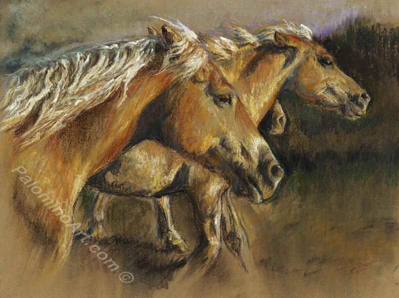 Summer Stampede - Haflinger ponies by Mary Povey
